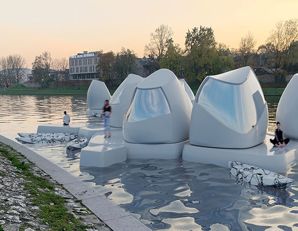 Floating Co-Working Space Concept on Vistula River by Agnieszka Bialek