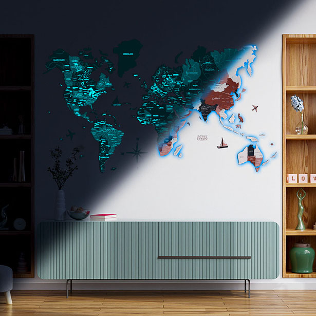 EnjoyTheWood 3D Luminous Wooden World Map Would Look Awesome on Your Wall
