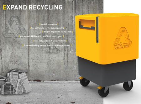 Expand Recycling Bin for Apartment and Office Buildings by SpringTime