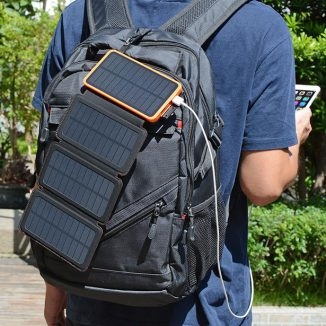 Foldable FEELLE 25000mAh Solar Charger Keeps Your Phone Charged Up Without Power Outlet