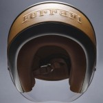 Ferrari Motorcycle Helmet  Features Genuine Leather Trim and Embossed Ferrari Logo