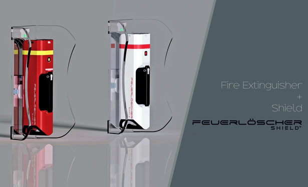 Feuerloscher Shield+: Fire Extinguisher with Foldable Transparent Shield by Tony Thomas Narikulam