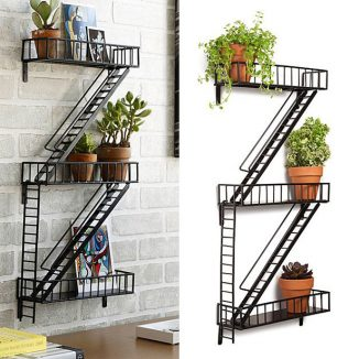 Creative Fire Escape Shelf Decoration for Apartment Dwellers
