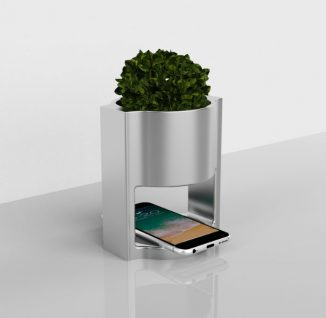 Flora – Minimalist Vase with a Wireless Charger for Your Working Desk