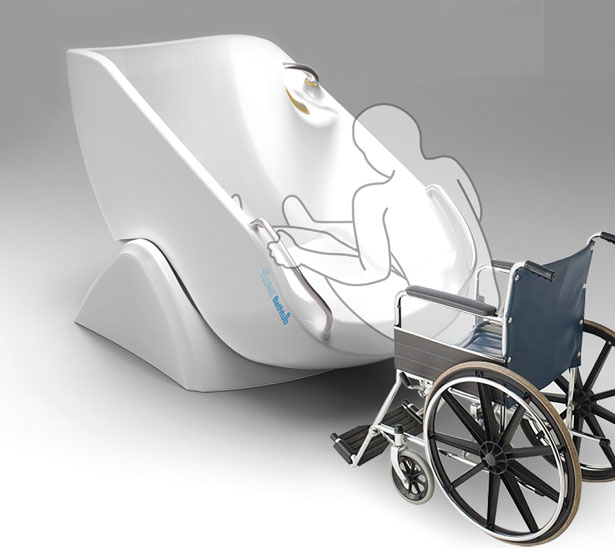 Flume Bathtub Has Been Designed to Allow Easy Access for Wheelchair-Bound People