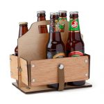 Foldable Wooden 6-Pack Bottle Carrier with Durable Canvas Handles