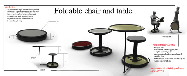 Foldable and Compact Table and Chair for Traveling by Arun Paul