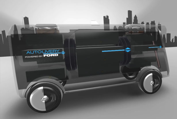 Ford Autolivery Self-Driving Delivery Concept Van with Drones