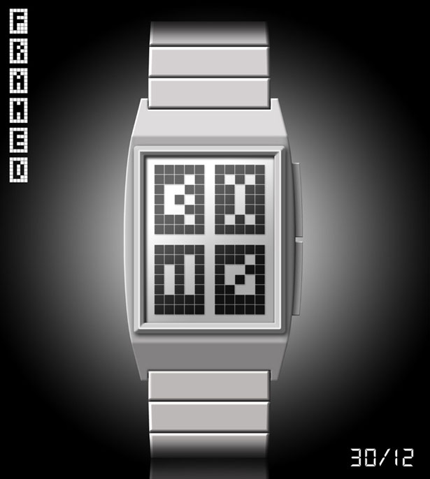 Framed LCD Watch Looks Like Atari Games by Lloyd King