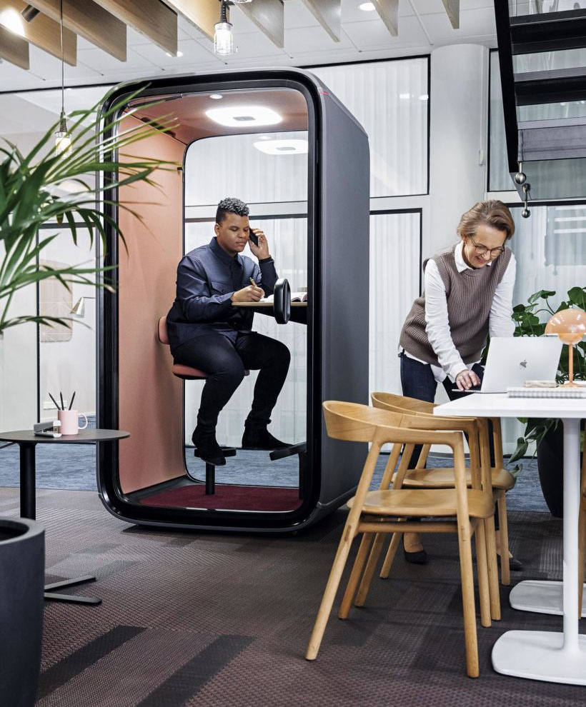 Modern Framery One Soundproof Phone Booth for Video Conferencing