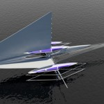 Solar Powered Fresnel Hydrofoil Trimaran Features Folding Wingsail