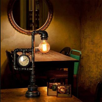 Frideko Retro Industrial Table Lamp with a Vintage Style Clock