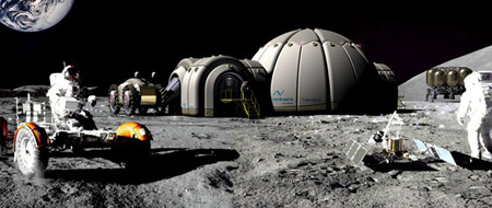 futuristic instan moon base