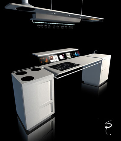 futuristic open space kitchen