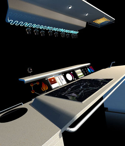 futuristic all in one kitchen concept