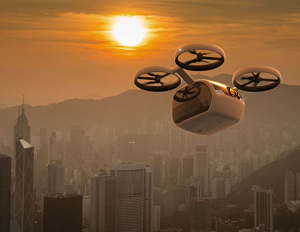 Futuristic Kite Passengers Drone Concept for Greater Bay Area by Andrea Ponti