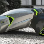 Futuristic LADA L-ego Electric Vehicle Concept with Two Removable Unicycles as Rear Wheels