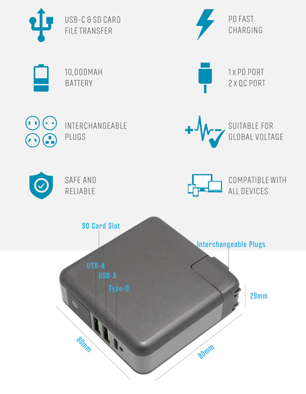 GOSPACE SuperCharger 2.0 - Power Bank and Transfer Files Device in One
