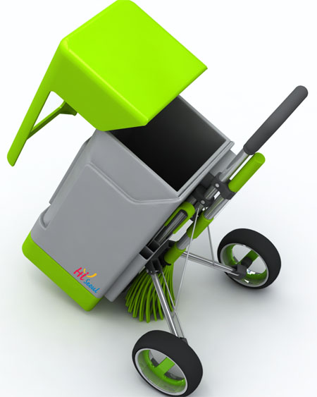 green fox eco friendly cleaning cart designed to be pride of street cleaners tuvie. Black Bedroom Furniture Sets. Home Design Ideas