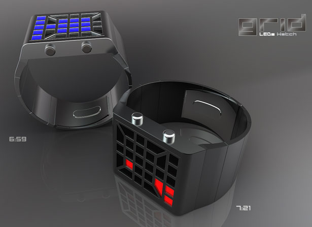 Grid LED Watch by Patrick Weingartner