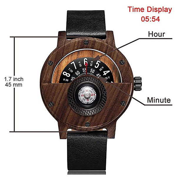 Cool Handmade Compass Wood Watch with Leather Strap