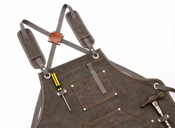 Heavy-Duty Waxed Canvas Apron Features Tool Pockets and Cross Back Straps