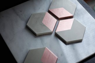 Stylize Your Coffee Table with Beautiful HEX Rose Gold Concrete Coasters