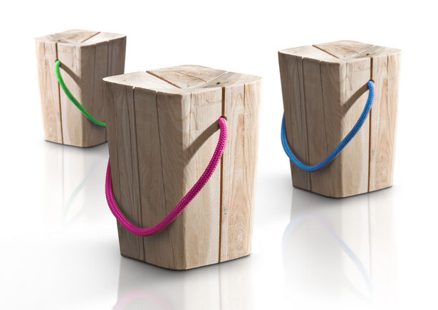Hug Monolith Wooden Stool by Emo Design for Elite