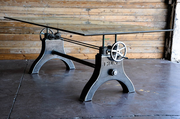 Hure Crank Table by Vintage Industrial Furniture