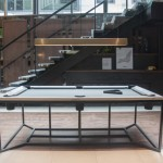 HWG Pool Table Features Calacatta Marble and Leather Pockets