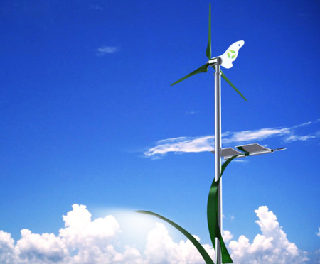 hybrid wind solar street light