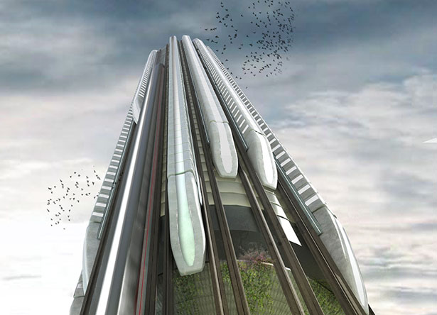 Hyper-Speed Vertical Train Hub by Christopher Christophi and Lucas Mazarrasa