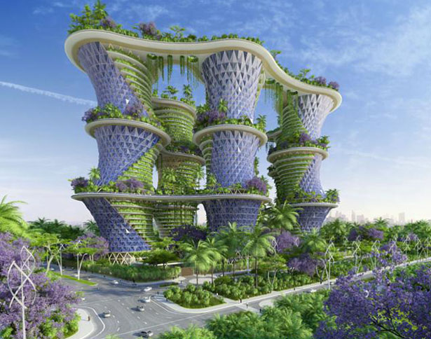 Hyperions - Agroecology and Sustainable Food Systems Growing Up Around Wooden and Timber Towers by Vincent Callebaut Architects