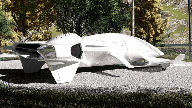 Futuristic Hyperlight Aeros Amphibious Vehicle by Lee Rosario