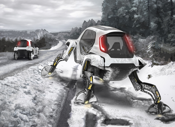 Hyunda Elevate - Futuristic Walking Car Concept with Robotic Legs