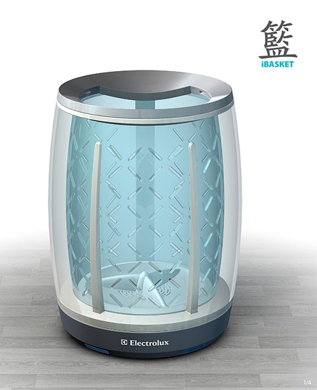 Ibasket futuristic washing machine concept that sends a message to your mob - Machine a laver du futur ...