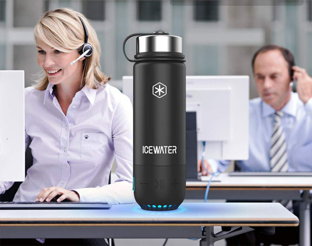 ICEWATER 3-in-1 Smart Water Bottle Features Bluetooth Speaker with Cool Glow as Reminder to Keep Hydrated
