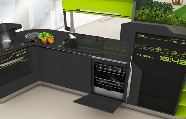 ifood remote controlled modular kitchen concept