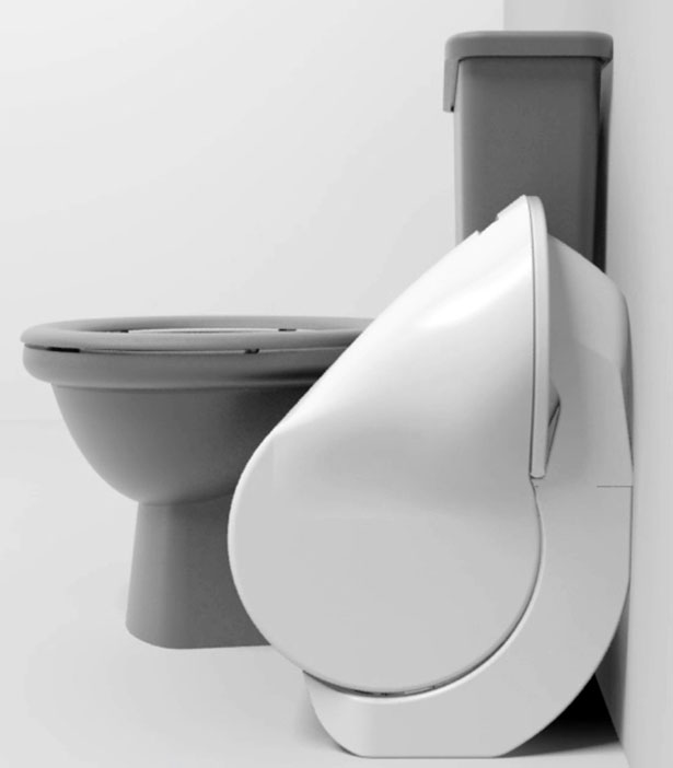 compact iota folding toilet concept drastically reduces. Black Bedroom Furniture Sets. Home Design Ideas