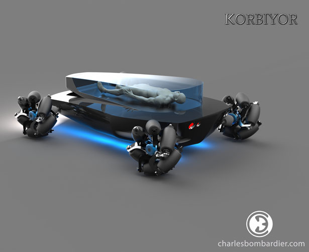 Korbiyor Futuristic Driverless Electric Hearse by Charles Bombardier