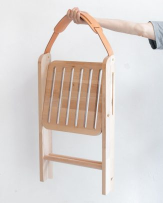 Lahu Folding Chair with Handcrafted Leather as Backrest