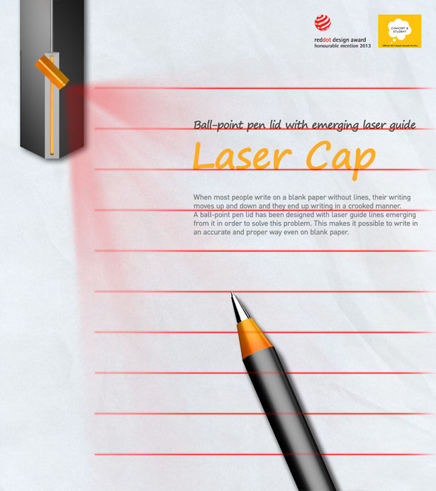 laser cap creates lined paper effect to help you witing in a  laser cap projector by jin won heo da som kim chang man son