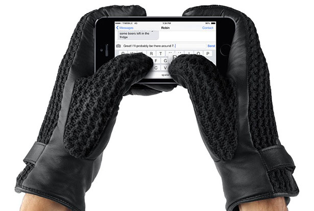 Leather Crochet Touchscreen Gloves