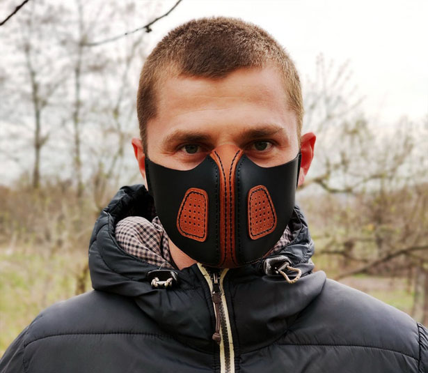 Genuine Leather Face Mask with Pocket Filter to Cover Your Nose and Mouth from Dust or Droplets