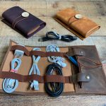 Vintage Style Leather Roll Cable Organizer to Keep Your Accessories in One Place