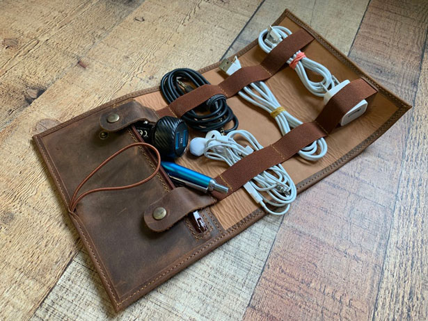 Vintage Style Leather Roll Cable Organizer