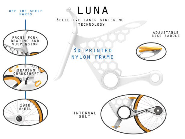 Luna 3D printed Bicycle by Omer Sagiv