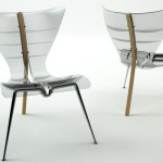 Transparent Manta Chair with A Wooden Leg For The Back and Spine
