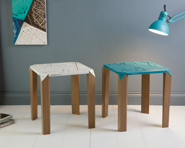 Map on Table : Gorgeous Side Table Allows You to Explore Streets of NYC or London by Hasan Agar