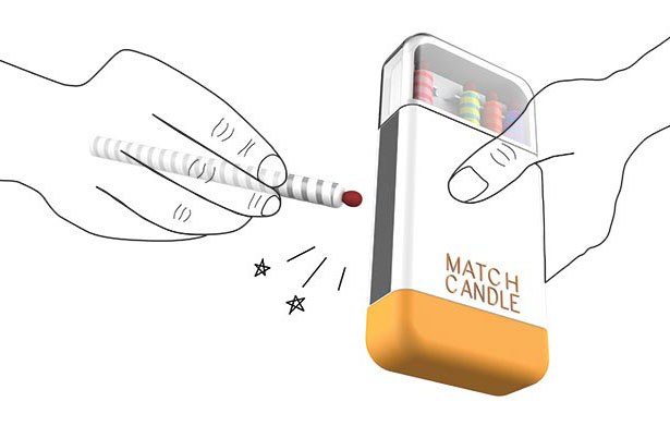 Match Candle Device with Integrated Match Tip